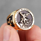 316L Stainless Steel St-Michael Men Rings Good Lucky Talisman Religious Personality Biker Ring for Men Boy Fashion Jewelry Gift