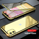 360 Metal Magnetic Phone Case For iPhone 11 Pro Max Case For iPhone XR X XS Max 6 6S 7 8 Plus Double Side Tempered Glass Cover