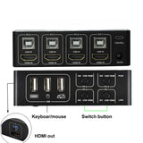 4 port HDMI KVM Switch 4K USB HDMI KVM Switcher 4 in 1 out 4KX2K/60HZ win10/8/mac os. PC laptop