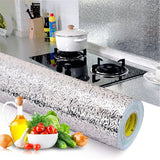 40W*100L CM Kitchen Wall Stove Aluminum Foil Oil-proof Anti-fouling High-temperature Self-adhesive Croppable Wall Sticker