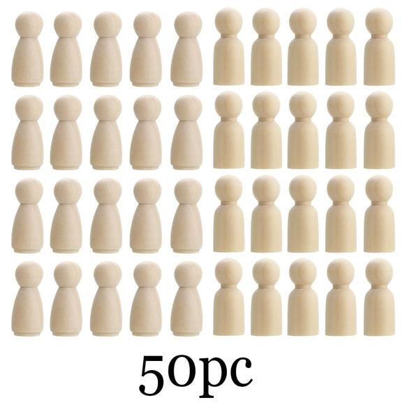 50Pc 75Mm/90Mm Wood Crafts Girls And Boys Diy Handmade Blank Home Decoration Baby Toys Peg Dolls Wooden Crafts For Baby Room