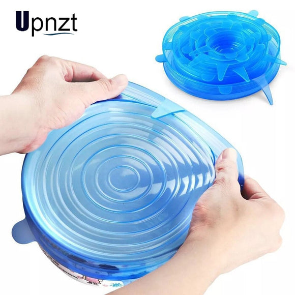 6pcs/12pcs Silicone Stretch Food Lids Reusable Universal Silicone Food Wrap Bowl Pot Airtight Lid Kitchen Accessories