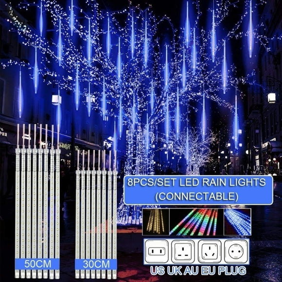 8 Pcs 30/50/60/80CM LED Meteor Shower Rain Lights Waterproof Halloween Xmas Decoration Falling String Lights for Garden Party
