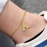 A-Z Initial Letter Anklets For Women Stainless Steel Gold Alphabet Anklet Bracelet Boho Foot Jewelry