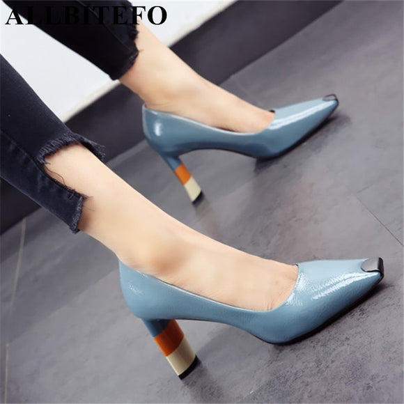 ALLBITEFO Colored heel fashion women high heel shoes metal square toe girls party wedding shoes spring women pumps high heels