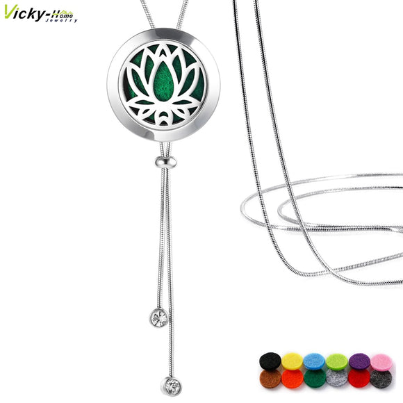 Adjustable Snake Chain Aromatherapy Essential Oil Diffuser Necklace Stainless Steel Locket with Pads, 35.5in Perfume Necklace