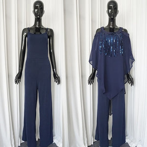 Spring Summer Sexy Fashion African Beauty Sequined Plus Size Two Pieces Sets Blouse And Jumpsuit