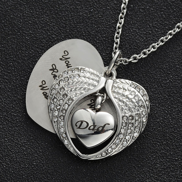 Angel Wing Hold Heart Cremation Urn Stainless Steel Necklace Dad Keepsake Memorial Jewelry For Ash 50cm