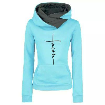 Autumn Winter Hoodies Sweatshirts Women Faith Embroidered  Sweatshirts Long Sleeve Pullovers Christmas Casual Warm Hooded Tops