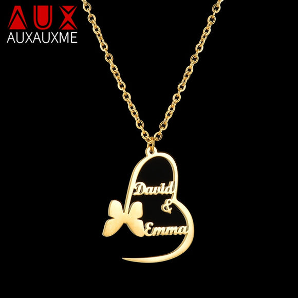 Handmade Butterfly Heart pendants Custom Name Necklaces Personalized Women Gold Silver Hearts Choker Jewelry Gift
