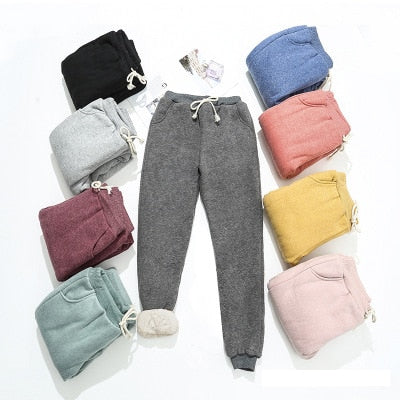 2020 Autumn Winter Women Fleece Sweatpants Trousers Casual Thick Velvet Loose Cashmere Sweatpants Tracksuit Pants