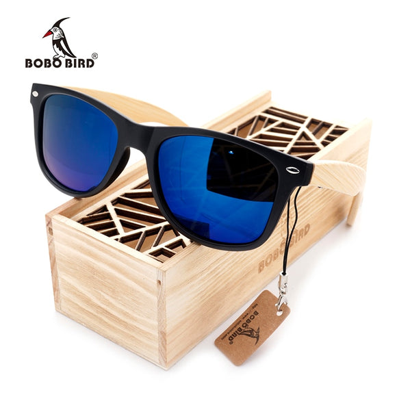 Square Vintage Sunglasses Men Women Wood Sun Glasses Retro Polarized oculos BOBO BIRD