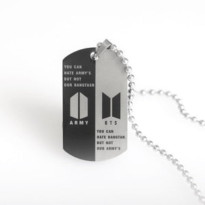 BTS-651 Stainless Steel Letter ARMY Pendant Necklace Trendy 2020 Lettering Dog Tags Neutral Necklace Boy Girl Fashion Jewelry
