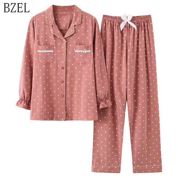 New Fashion Sleepwear Women's Cotton Cute Pajamas Girls Long Sleeve Tops+Pants With Pockets Polka Dot Casual Lounge Wear