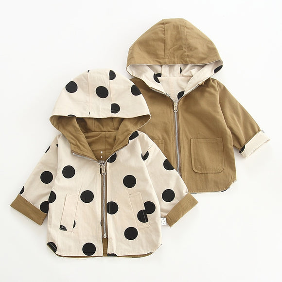 Baby Kids Windbreaker Jacket Spring Autumn Boys Girls Jacket Coat Polka Dot 2 Sides
