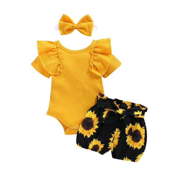 Baby Summer Clothing Girl Floral Clothes Kids Short Sleeve Romper Newborn Jumpsuit+Girls Sunflower Tutu Shorts 3Pcs Outfits Set