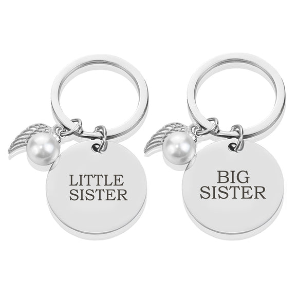 Big Sister Little Sister Keychain Women Bag Pendant Key Charm Car Keyring Sisters Jewelry Birthday Gift