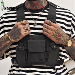 Black Tactical Bag Men Nylon Chest Rig Bag Hip Hop Streetwear Functional Boy Chest Rig Kanye West Wist Pack Tactical Waist Pack