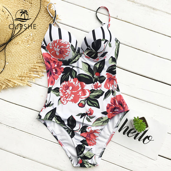 Floral Printing One-piece Swimsuit Women Adjustable Push Up Heart Neck Monokini 2020 Sexy Beach Bathing Suits Swimsuits