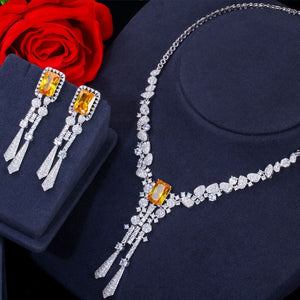 Stone Dangle Drop Long Tassel Wedding Earrings Necklace Big Dubai Bridal Dress Jewelry Sets