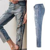 Loose Straight Jeans Sequined Washed Holes Denim Pants Female Casual Cotton Jeans Trousers