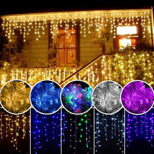 Christmas Garland LED Curtain Icicle String Light 220V 4.5m 100Leds Indoor Drop LED