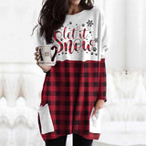 Christmas Mini dress Women Christmas Sweatshirt Warm Tops Long Sleeve Loose O-Neck Jumper Top Winter Autumn Pullovers Plus Size