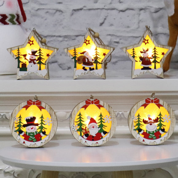 Christmas Tree Wooden Glowing Ornament Star Round Shape LED Light Decoration Luminous Santa Snowman Deer Hanging Pendant