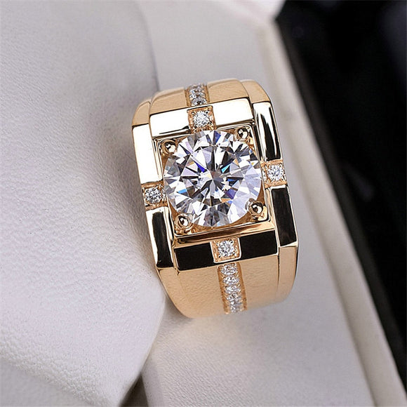 Classic High Carbon Men'S Ring Imitation Gold Plating Domineering Wedding Ring Wholesale Rings for Men Gift