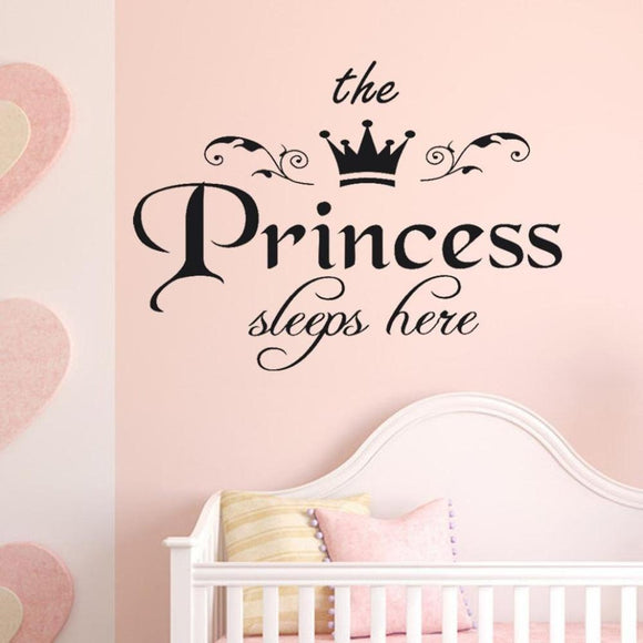 Crown Letter Girl Wall Stickers DIY Princess Mural Sticker For Kids Rooms Baby Room Dorm Decoration
