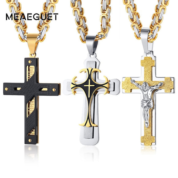 Crucifixo Cross Necklace Men Stainless Steel 24