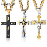 "Crucifixo Cross Necklace Men Stainless Steel 24"" Byzantine Chain Male Necklaces Pendants"