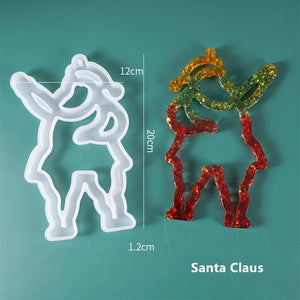 DIY Crystal Epoxy Resin Mold Christmas Tree Mold Elk Santa Claus Jewelry Decoration Silicone Mold For Resin New Year 2021