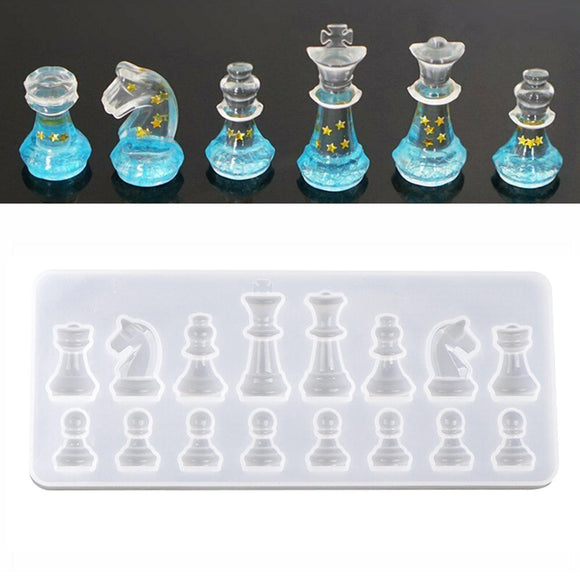 DIY Crystal Epoxy Resin Mold International Chess Silicone Mold Jewelry Pendant Making Handmake Chocolate Cake Candy Baking Mold
