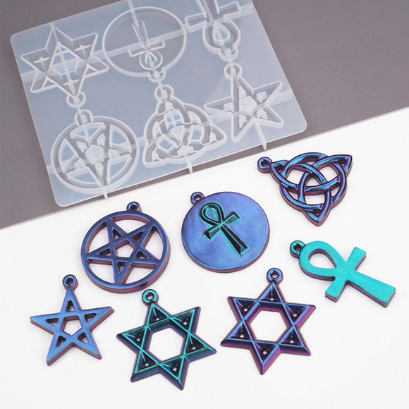 DIY Crystal Epoxy Resin Mold  Material Silicone Mold Pentagram Six-pointed Star UV Glue Mold  for Ornaments Making