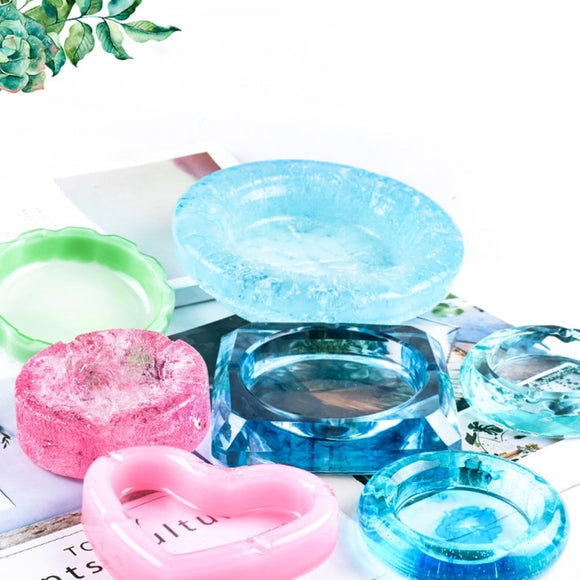 DIY Mirror Ashtray Silicone Mold Crystal Epoxy UV Resin Plastic Manual Flower Container Glossy Polished Silicone Mold