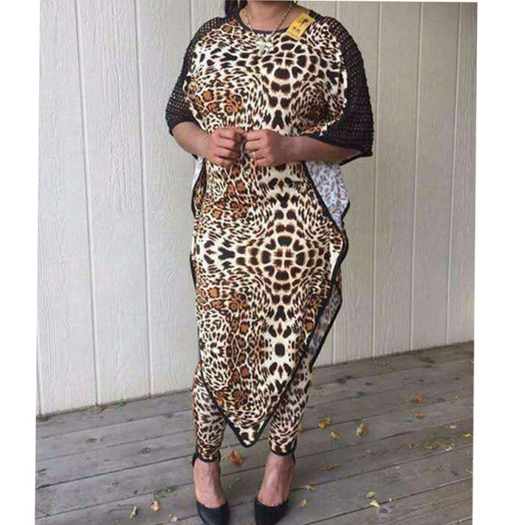 Dashiki African New Fashion Suit (Dress and Trousers)Bat SLeeve Leopard Grain Sexy  Suit Super Elastic African For Lady(BW01#)