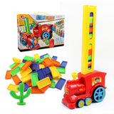 Domino Train Toy Set Rally Electric Train Model With 60 Pcs Colorful Domino Game Building Blocks Car Truck Vehicle Stacking