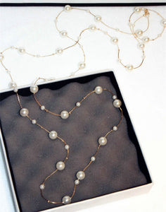 Double Layers Simulated Pearl Jewelry Long Necklace Women Classic Beads Chain Necklaces & Pendants Fine Gift