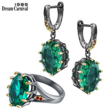 Big Green Zircon Ring Earrings Set for Women Delicate Fine Cut Dazzling Prong Bridal Jewelry Hot Sell