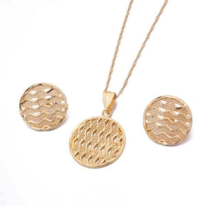 Dubai 24K Gold Color Jewelry sets for Women Indian Ethiopia Necklace Pendant Earrings set Africa speaker wedding Party gift