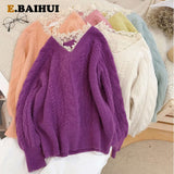 Autumn Winter Lace Collar Sweater Women Loose Sweaters