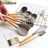 Silicone Cooking Utensils Wooden Handle Non-Stick Spatula Spoon