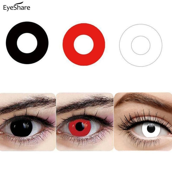1 Pair Halloween 365 Day Coloured Contact Lenses Pure Color Cosplay Contact Lens for Eyes