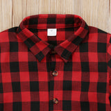 Toddler Kids Baby Boy Girl Plaid Letter Turn Down Collar Long Sleeve Cotton Tops Shirt  Clothes