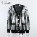 V Neck Women Button Black Houndstooth Cardigan 2020 Long Sleeve Sweater Autumn Winter Knitted Loose Oversized Jumper Casual