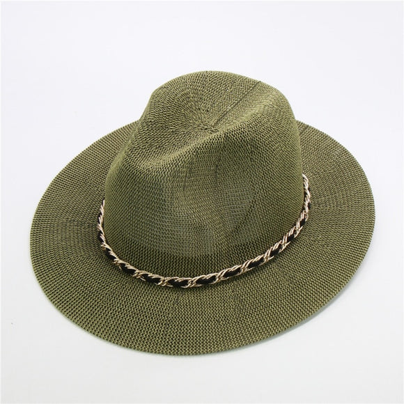 Fashion Metal Chain Panama Hats For Women 10 Colors Jazz Cooling Sun Hats