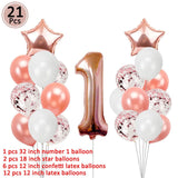 First Happy Birthday Balloons Foil Number Ballon Banner 1st Baby Boy Girl Party Decorations My 1 One Year Supplies Rose Gold
