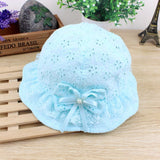 Flower Baby Girls Caps With Bow Mesh Lace Princess Infant Kids Beach Bucket Hats