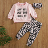 New Fashion 3pcs Cute Baby Girl Fall Clothing Leopard Print T-Shirt Tops Long Pants Outfit Clothes Set